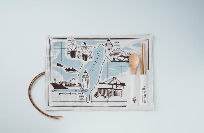 檔案局從國家檔案擷取港口元素,結合航海圖推出「大港印象」餐墊